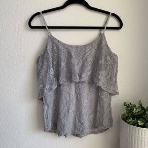 Tiered lace gray cami